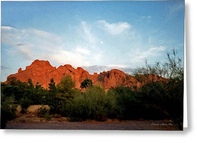 Camelback Mountain Greeting Cards - Camelback Mountain and Moon Greeting Card by Connie Fox