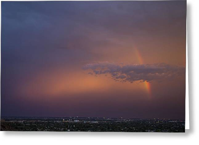 Scottsdale Lightning Greeting Cards - Camelback Rainbow 2 Greeting Card by Cathy Franklin