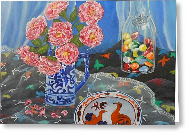 Interior Still Life Greeting Cards - Camellias with Glass Beads Greeting Card by Caroline Street