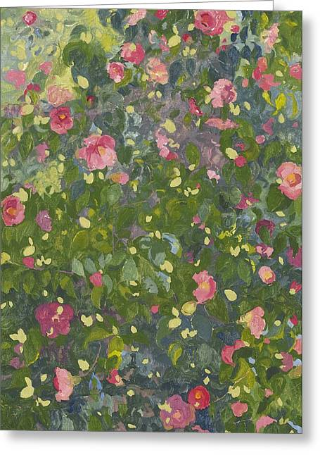 Floral Artist Greeting Cards - Camellia in Flower Greeting Card by Leigh Glover