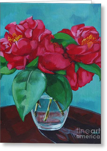 """flower Still Life Prints"" Greeting Cards - Camellia Still Life Greeting Card by Annie Pierson"