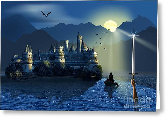 Camelot Greeting Cards - Camelot and Excalibur Greeting Card by Monika Juengling