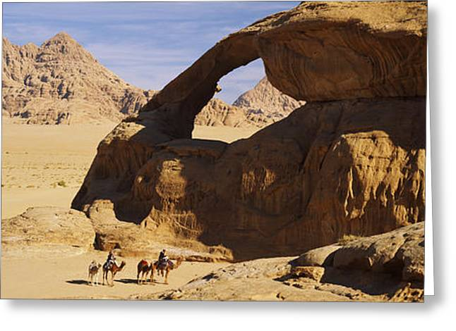 Jordan Hill Greeting Cards - Camels At The Eye Of The Eagle Arch Greeting Card by Panoramic Images