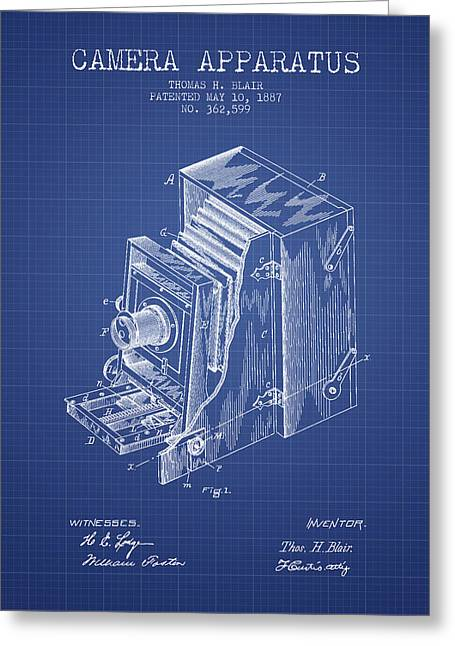 Famous Photographers Digital Art Greeting Cards - Camera Apparatus Patent from 1887 - Blueprint Greeting Card by Aged Pixel