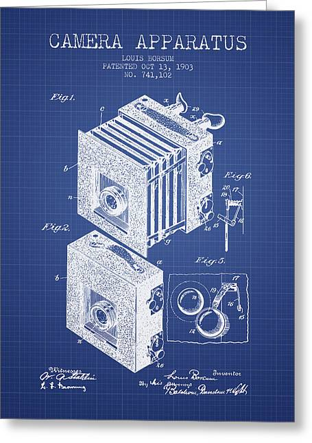 Famous Photographer Greeting Cards - Camera Apparatus Patent from 1903 - Blueprint Greeting Card by Aged Pixel