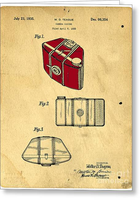 Vintage Design Greeting Cards - Camera Casing Patent 1935 Greeting Card by Edward Fielding