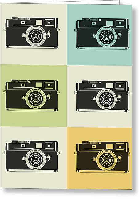 Humor Greeting Cards - Camera Grid Poster Greeting Card by Naxart Studio