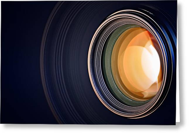 Up Close Greeting Cards - Camera lens background Greeting Card by Johan Swanepoel
