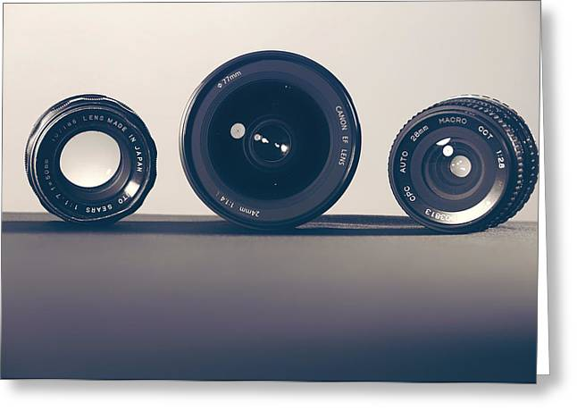Three Sizes Greeting Cards - Camera Lenses Greeting Card by Evan Wise
