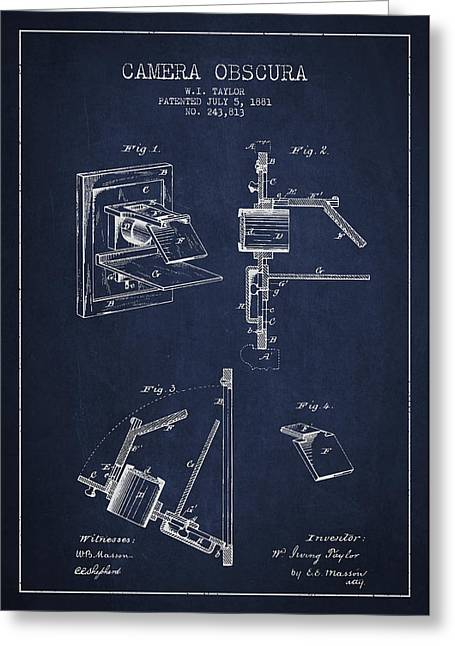 Famous Photographers Digital Greeting Cards - Camera Obscura Patent Drawing From 1881 Greeting Card by Aged Pixel