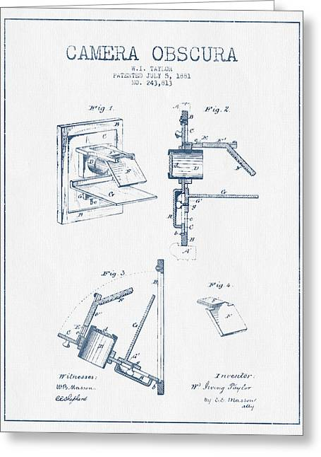 Famous Photographers Greeting Cards - Camera Obscura Patent Drawing From 1881 - Blue Ink Greeting Card by Aged Pixel