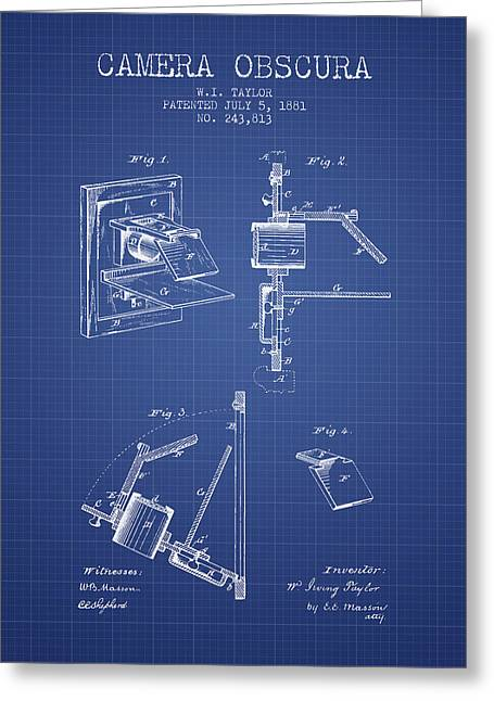 Camera Greeting Cards - Camera Obscura Patent From 1881 - Blueprint Greeting Card by Aged Pixel