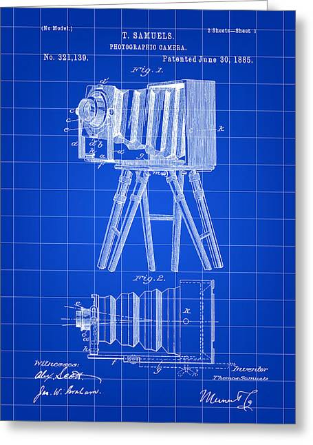 Aperture Greeting Cards - Camera Patent 1885 - Blue Greeting Card by Stephen Younts