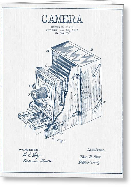 Camera Greeting Cards - Camera Patent Drawing from 1887 - Blue Ink Greeting Card by Aged Pixel