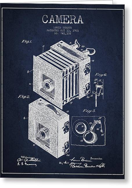 Decor Photography Greeting Cards - Camera Patent Drawing from 1903 Greeting Card by Aged Pixel