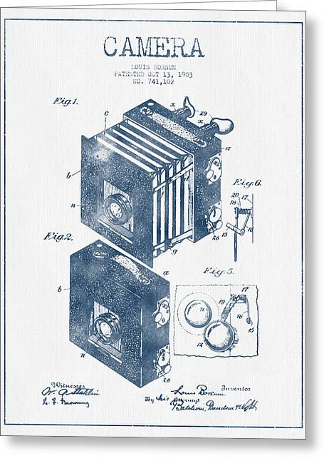 Famous Photographers Greeting Cards - Camera Patent Drawing from 1903 - Blue Ink Greeting Card by Aged Pixel