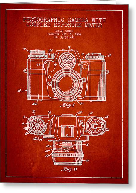 Camera Greeting Cards - Camera Patent Drawing From 1962 Greeting Card by Aged Pixel