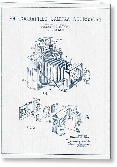 Camera Greeting Cards - Camera Patent Drawing From 1963- Blue Ink Greeting Card by Aged Pixel
