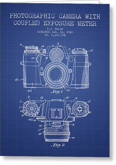 Camera Greeting Cards - Camera Patent From 1962 - Blueprint Greeting Card by Aged Pixel