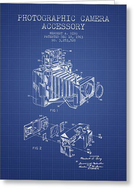 Camera Greeting Cards - Camera Patent From 1963 - Blueprint Greeting Card by Aged Pixel