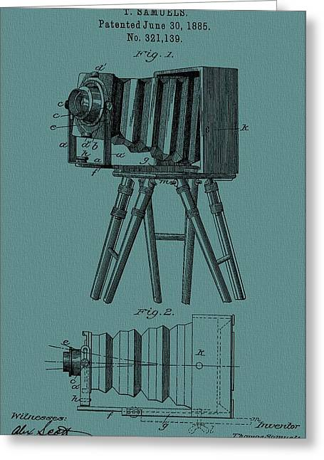 First-class Mixed Media Greeting Cards - Camera Patent On Canvas Greeting Card by Dan Sproul