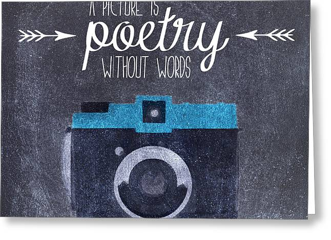 Positive Attitude Greeting Cards - Camera quote illustration Greeting Card by Sophie McAulay