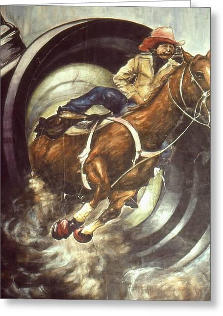 American Cowboy Gallery Greeting Cards - Camera Rodeo - Western Art Painting Greeting Card by Peter Fine Art Gallery  - Paintings Photos Digital Art
