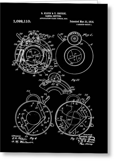 Aperture Greeting Cards - Camera Shutter Patent 1910 - Black Greeting Card by Stephen Younts