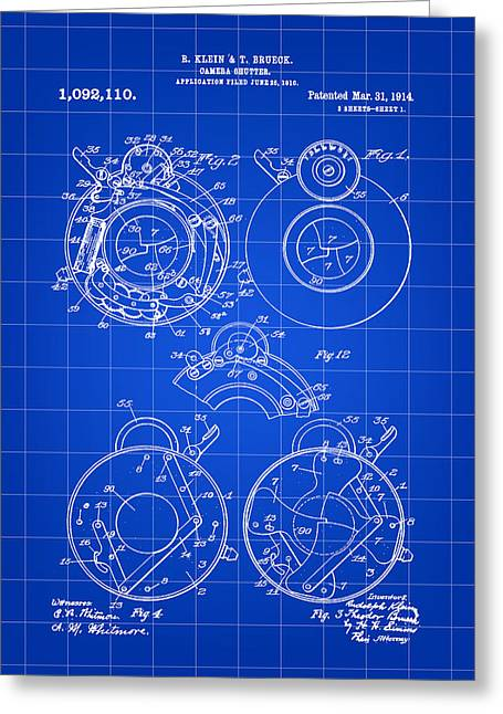 Camera Shutter Patent 1910 - Blue Greeting Card by Stephen Younts