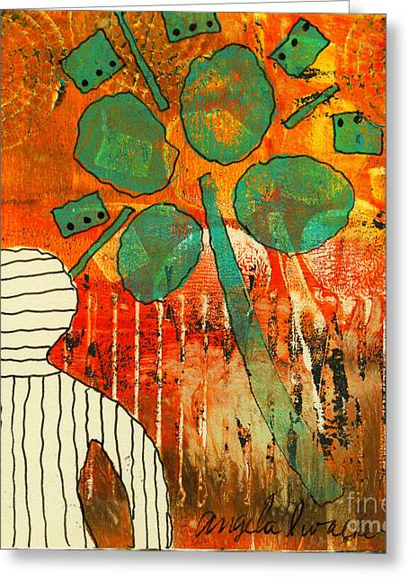 Printing Mixed Media Greeting Cards - Camera Shy-Monotype Greeting Card by Angela L Walker