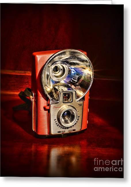 Camera - Vintage Brownie Starflash Greeting Card by Paul Ward