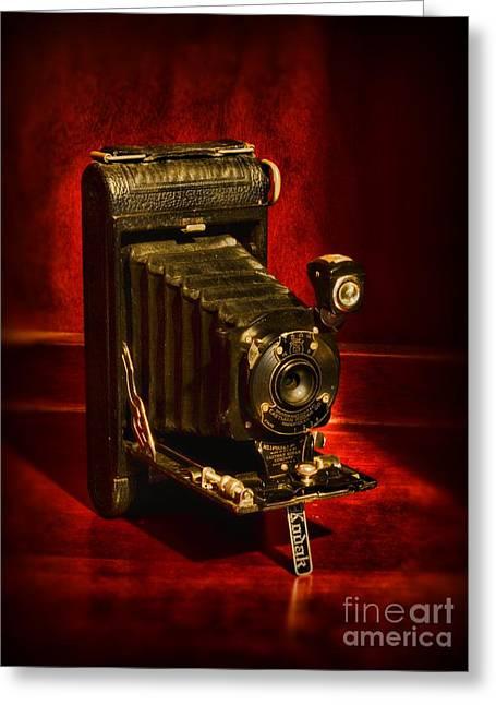 Camera - Vintage Kodak Pocket Camera Greeting Card by Paul Ward