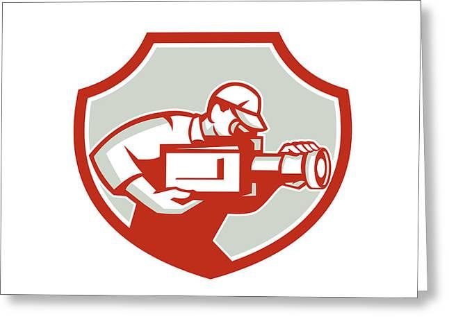 Man Looking Down Digital Greeting Cards - Cameraman Film Crew Camera Shield Retro Greeting Card by Aloysius Patrimonio