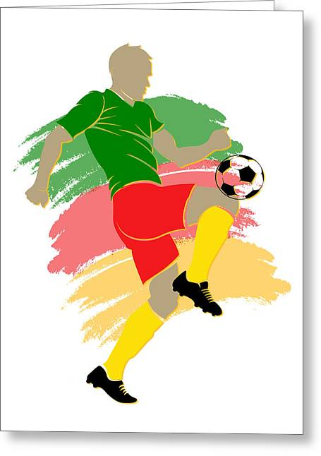 Soccer Goal Greeting Cards - Cameroon Soccer Player Greeting Card by Joe Hamilton