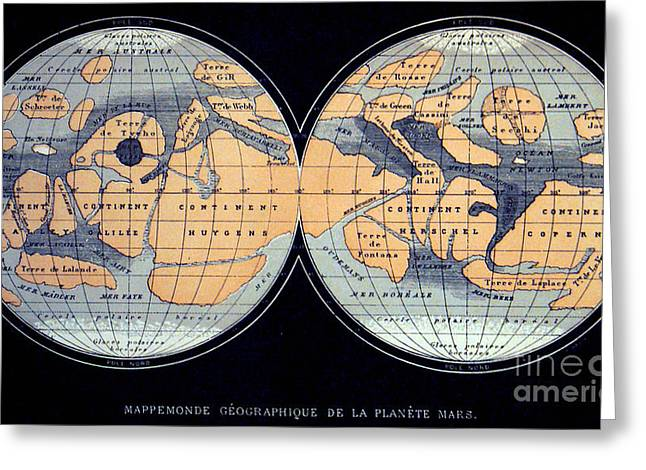 Planet Map Greeting Cards - Camille Flammarion Mars Map 1876 Greeting Card by Science Source