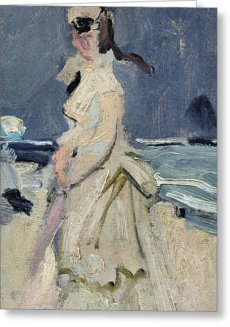 On The Beach Greeting Cards - Camille on the Beach Greeting Card by Claude Monet