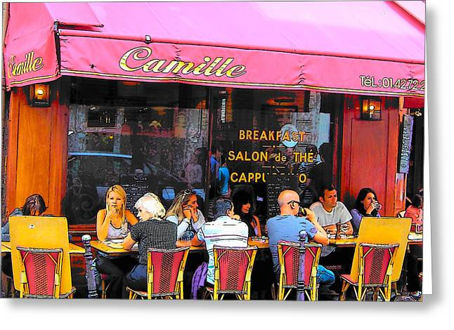 Corner Kitchen Greeting Cards - Camille Restaurant 24 Rue des Francs Bourgeois Paris  Greeting Card by Jan Matson