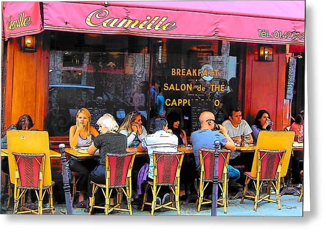 Table And Chairs Greeting Cards - Camille Restaurant 24 Rue des Francs Bourgeois Paris  Greeting Card by Jan Matson