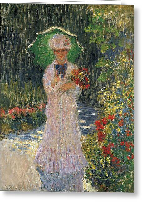 Green Umbrellas Greeting Cards - Camille with Green Umbrella Greeting Card by Claude Monet