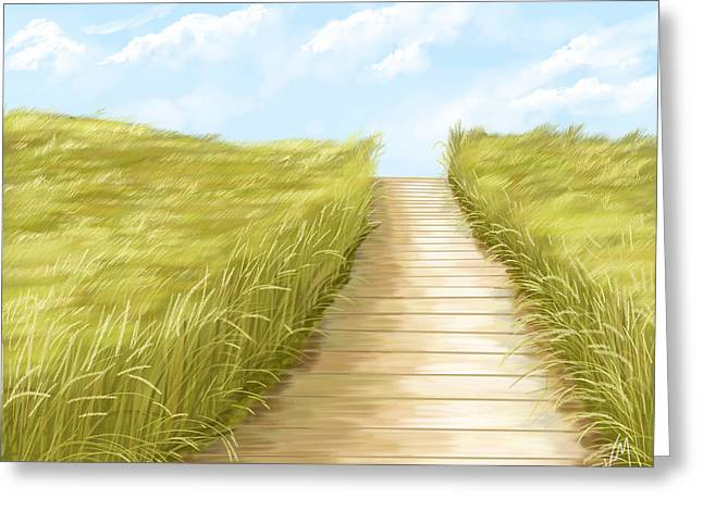 Summer Landscape Greeting Cards - Cammino Greeting Card by Veronica Minozzi