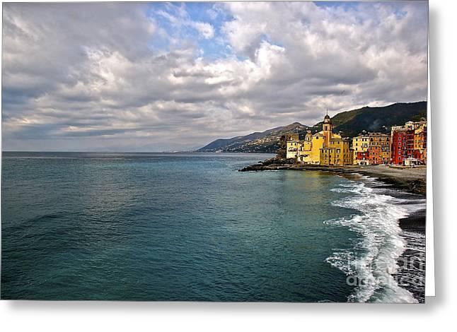 Portofino Italy Digital Greeting Cards - Camogli Colors Greeting Card by Heidi Peschel