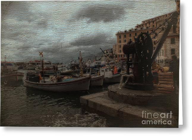 Camogli Greeting Cards - Camogli Fishing Boats Greeting Card by Karen Lewis