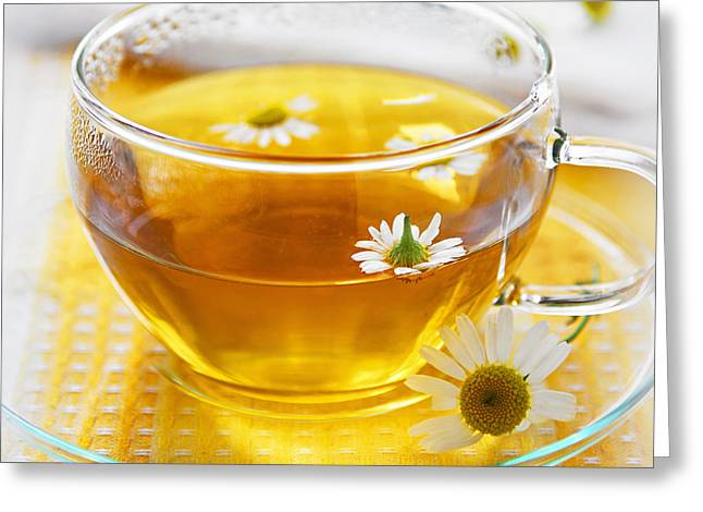 Teacup Greeting Cards - Camomile tea Greeting Card by Elena Elisseeva