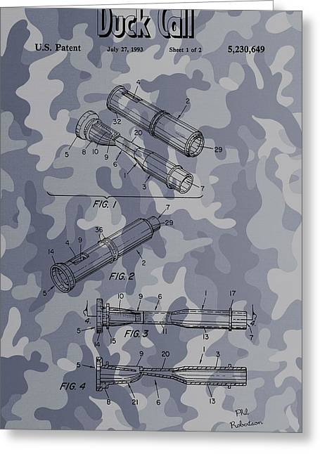 Duck Dynasty Greeting Cards - Camouflage Duck Call Patent Greeting Card by Dan Sproul