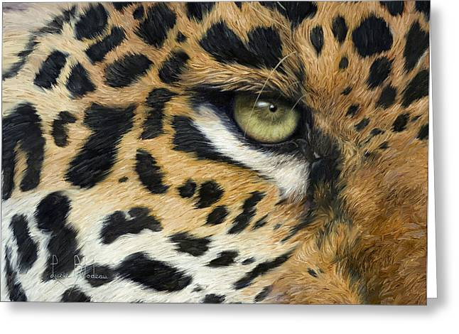 Green Eyes Greeting Cards - Camouflage Greeting Card by Lucie Bilodeau