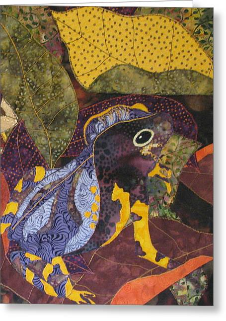 Amphibians Tapestries Textiles Greeting Cards - Camouflaged Forest Toad Greeting Card by Lynda K Boardman