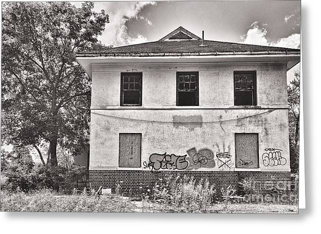 Abandoned School House. Greeting Cards - Camp 30 Number 30 Greeting Card by Steve Nelson