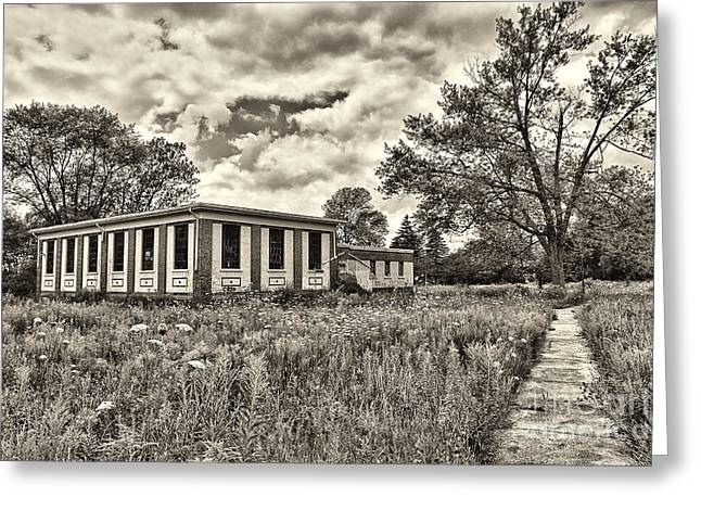Abandoned School House. Greeting Cards - Camp 30 Number 36 Greeting Card by Steve Nelson