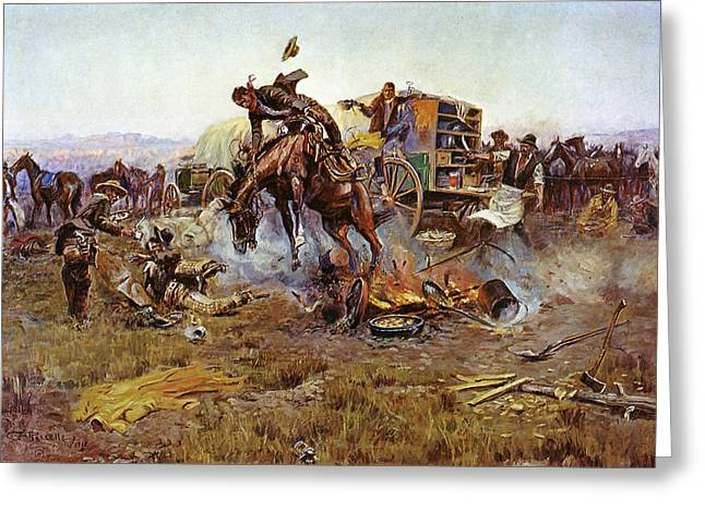 Bronc Greeting Cards - Camp Cooks Trouble Greeting Card by Charles Russell