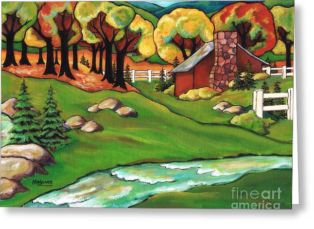 Revising Paintings Greeting Cards - Camp Creek without lettering Greeting Card by MarLa Hoover